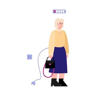 Frau der niedrigen energie mit entladener batteriekarikaturillustration