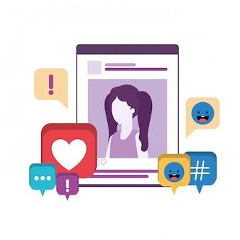 Frau des profils soziales netzes mit spracheblase