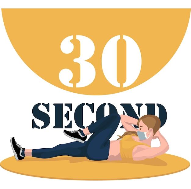 Frau, die 30 sekunden übungspose macht