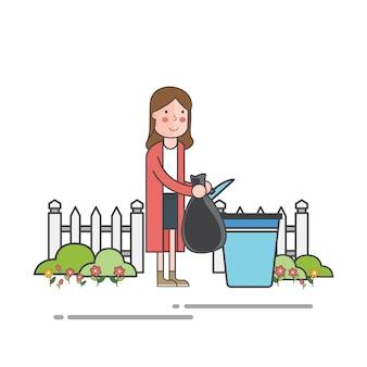 Frau, die abfall wirft, um behälter zu verweigern