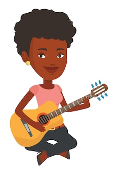 Frau, die akustische gitarrenvektorillustration spielt.