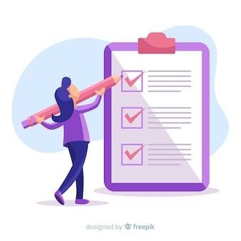 Frau, die an checklistenhintergrund arbeitet