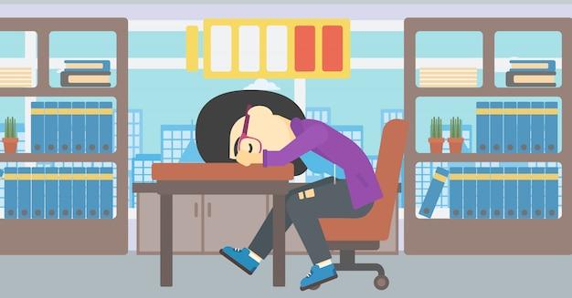 Frau, die an der arbeitsplatzvektorillustration schläft.