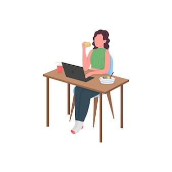 Frau, die an der flachen farbillustration des computertischs isst