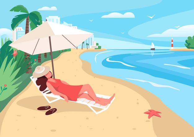 Frau, die an der flachen farbillustration des sandstrandes entspannt. sommer freizeit. mädchen, die 2d-karikaturfigur mit wolkenkratzern der stadt, ozean und tropischen palmen auf hintergrund sonnenbaden