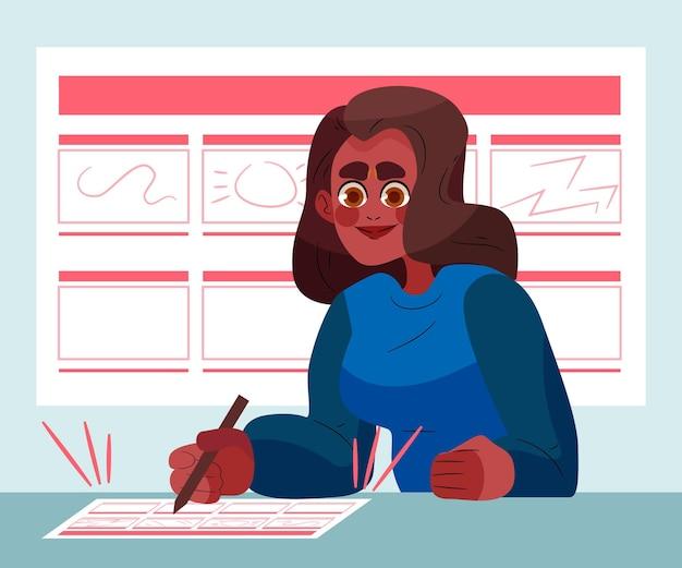 Frau, die an einem storyboard arbeitet
