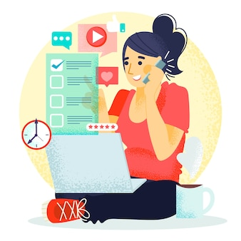 Frau, die an ihrem laptop arbeitet und am telefon spricht