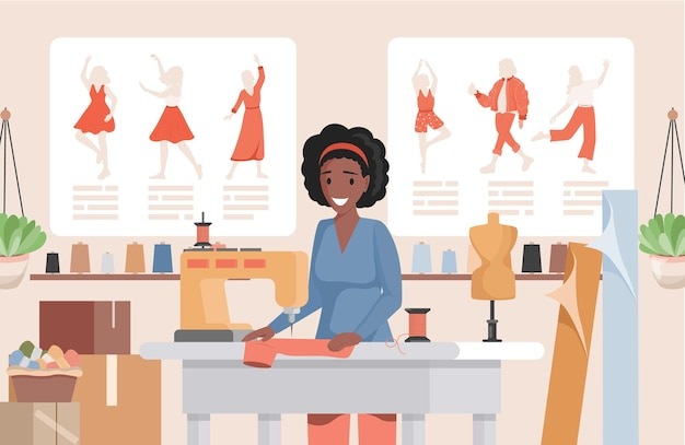 Frau, die an nähmaschinenillustration arbeitet
