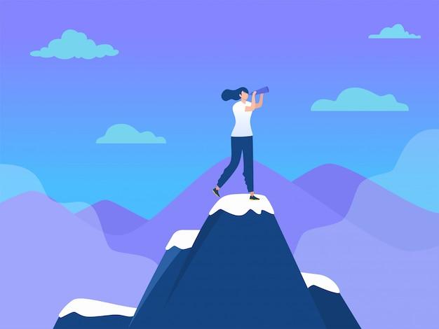 Frau, die auf berg mit flagge, erfolgsführung, illustration, büromädchenerreichungsziel, landungsseite, schablone, ui, netz, homepage, plakat, fahne, flieger steht