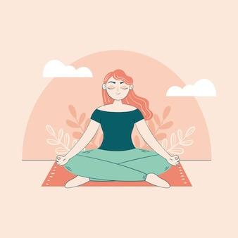 Frau, die auf dem teppichmeditationskonzept sitzt