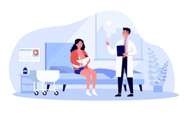 Frau, die auf der station sitzt und ihr neugeborenes kind stillt. flache vektorillustration. doktor, der mit neuer mutter spricht und baby an ihre brust hält. mutterschaft, geburt, stillen, medizinisches versorgungskonzept