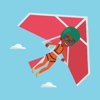 Frau, die auf drachenfliegervektorillustration fliegt.