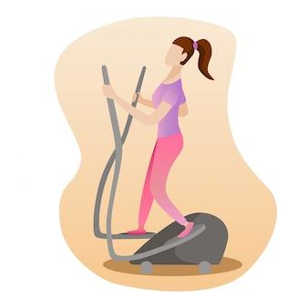 Frau, die auf elliptischer maschine läuft