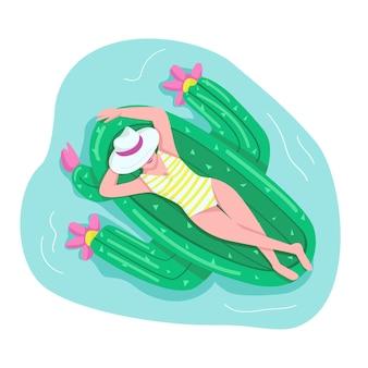Frau, die auf flacher farbe gesichtslosen charakter der luftmatratze schläft