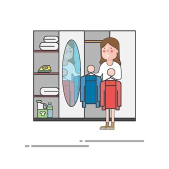 Frau, die auf kleidung vor dem spiegelvektor versucht