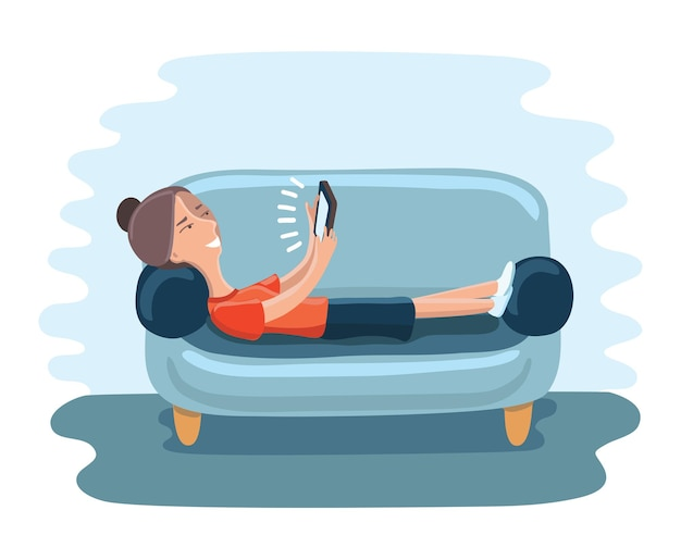 Frau, die auf sofa mit tablette liegt und lächelt