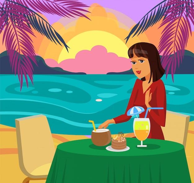 Frau, die auf strand-vektor-illustration zu abend isst.