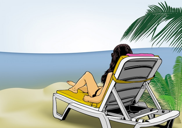 Frau, die auf strandruhesessel sich entspannt