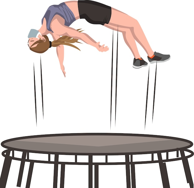 Frau, die auf trampolinillustration springt