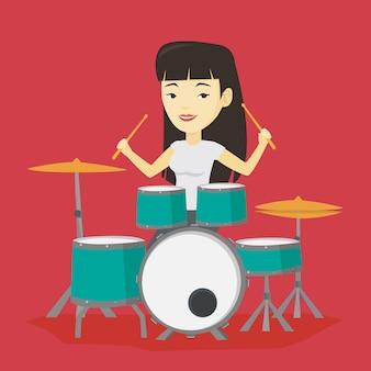 Frau, die auf trommelsatzillustration spielt.