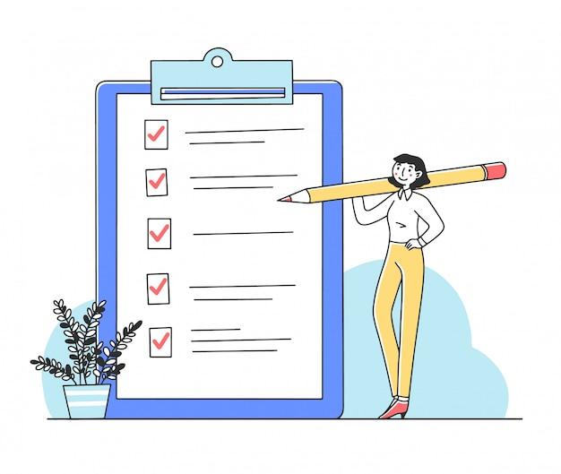 Frau, die aufgaben auf der checklistenillustration abhakt