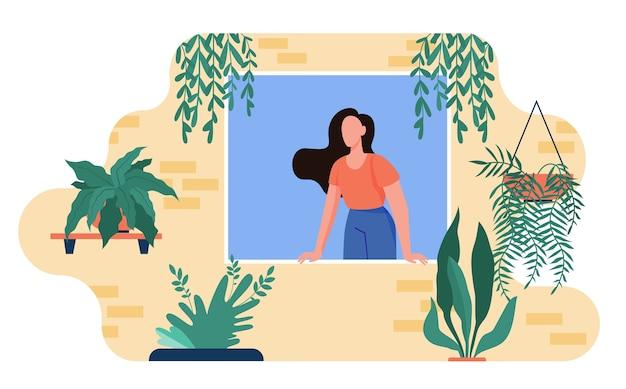 Frau, die aus fenster mit hauptpflanzen herausragt. zimmerpflanzen, gewächshaus, flache illustration des öko-innenraums.
