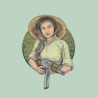 Frau, die automatisches gewehr in der dschungelkriegsführung hält