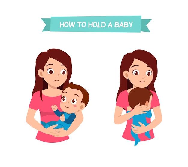 Frau, die babypose mit gutem weg hält