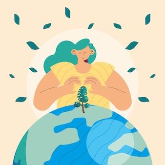 Frau, die baum und planeten schützt