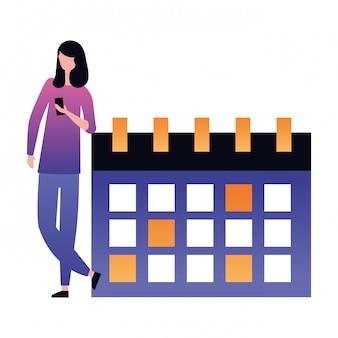 Frau, die beweglichen kalender verwendet