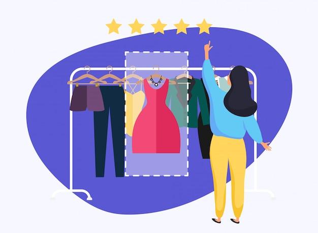Frau, die bewertung gibt, um sich zu kleiden.