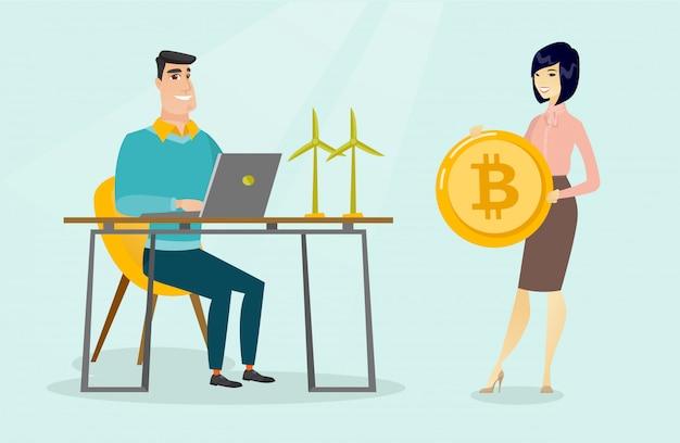 Frau, die bitcoins in der grünen technologie investiert.