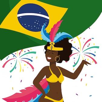 Frau, die brasilien-karnevalsvektorillustration feiert