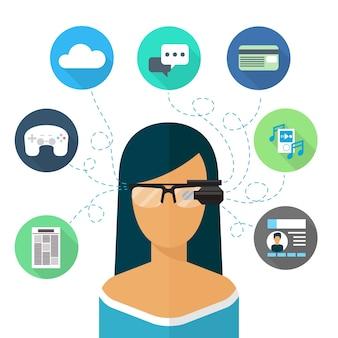 Frau, die brille augmented reality trägt. virtuelles internet, kommunikation und musik, chat und online-shopping