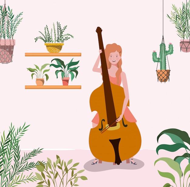 Frau, die celloinstrumentcharakter spielt