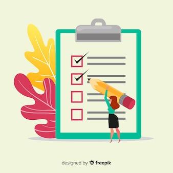 Frau, die checklistenillustration analysiert