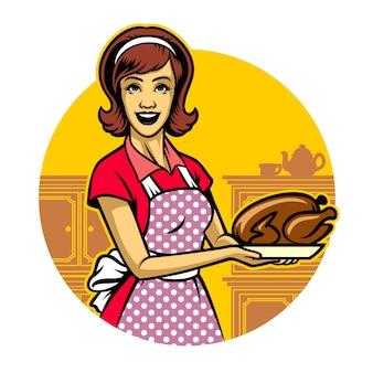 Frau, die das gebratene huhn kocht und darstellt
