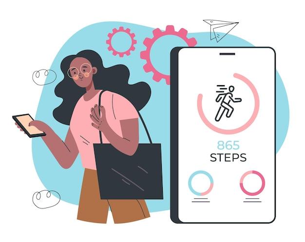 Frau, die das telefon benutzt, um schritte zu zählen schritt für die handy-app-zähler