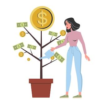 Frau, die den geldbaum wässert, der in einem topf wächst