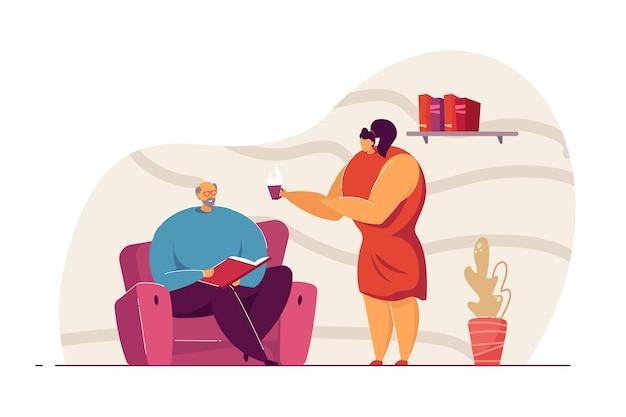 Frau, die der mannvektorillustration tee anbietet. lesebuch des alten mannes. junge fürsorgliche tochter, die eine tasse tee vorschlägt. familienkonzept für website oder landingpage