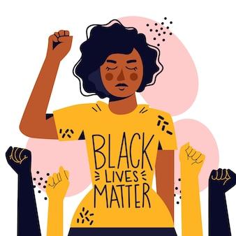 Frau, die die bewegung der schwarzen lebensmaterie unterstützt