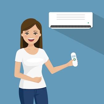 Frau, die die klimaanlage genießt