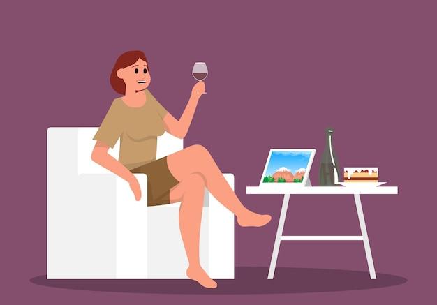 Frau, die die tablette mit naturblick betrachtet und glaswein trinkt flache vektorkarikatur der farbe