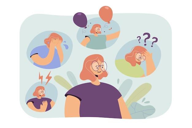 Frau, die durch nervenzusammenbruch oder bipolare verhaltensstörung geht. karikaturillustration