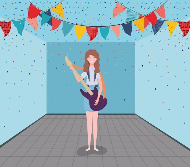 Frau, die e-gitarren-instrumentcharakter spielt
