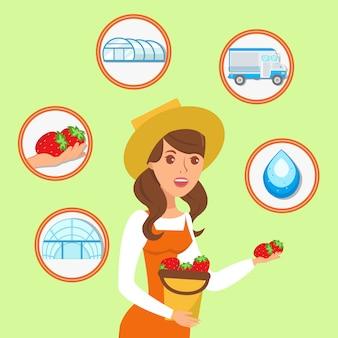 Frau, die eimer erdbeerillustration hält