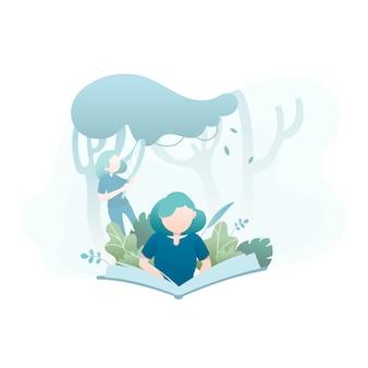 Frau, die ein buch in der dschungel-illustration liest