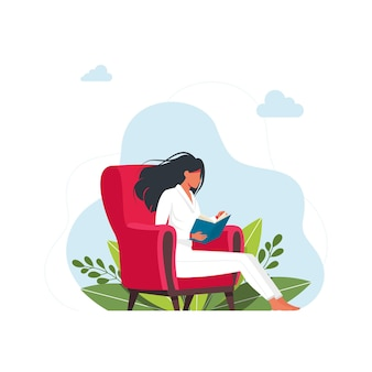 Frau, die ein buch liest. buchvektorillustration lesen. mädchenlesebücher in einer bequemen haltung auf dem sessel. studentisches weibliches studienwissen. nette leser, gestalten flache literatur mit der person.