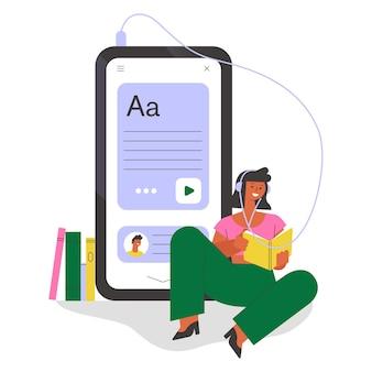 Frau, die ein buch liest. flache illustration.