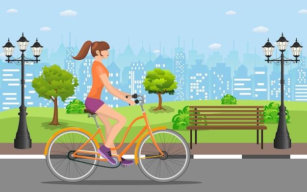 Frau, die ein fahrrad im öffentlichen park reitet, vektorillustration im flachen design